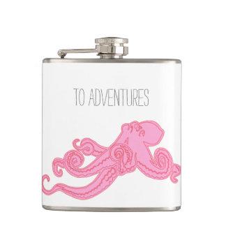 Pink octopus vintage kraken nautical adventures hip flask