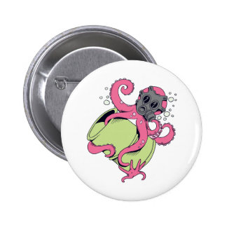 pink octopus wearing gas mask buttons