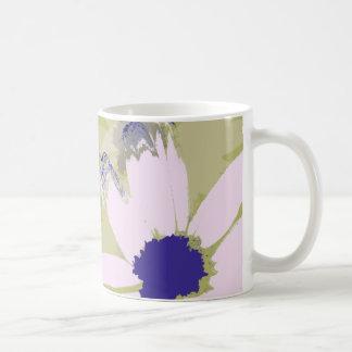 Pink Olive Green Daisy Floral Art Basic White Mug