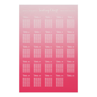 Pink Ombre 25 Table Large Wedding Seating Chart Poster
