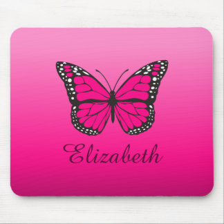 Pink Ombre Butterfly Custom Name Mouse Mat