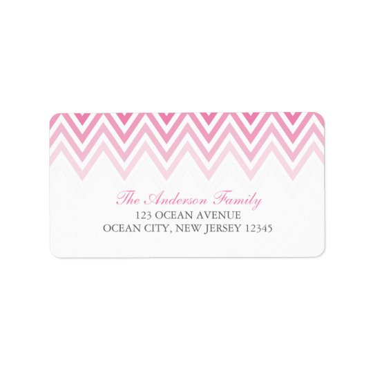 Pink Ombre Chevrons Address Label