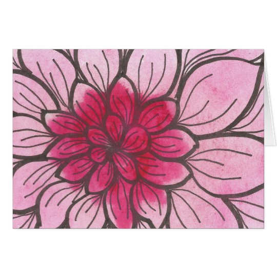 Pink Ombre Chrysanthemum Card with envelope