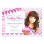 Pink Ombre Cupcake Birthday invitation Invitations