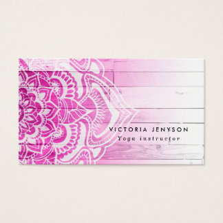 Pink ombre floral mandala henna yoga wood business card