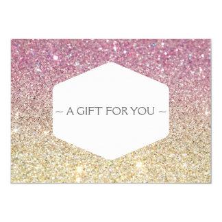 PINK OMBRE GLITTER Gift Certificate 11 Cm X 16 Cm Invitation Card