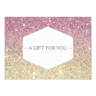 PINK OMBRE GLITTER Gift Certificate Card