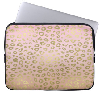 Pink Ombre Gold Leopard Print Computer Sleeves