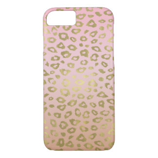 Pink Ombre Gold Leopard Print iPhone 8/7 Case