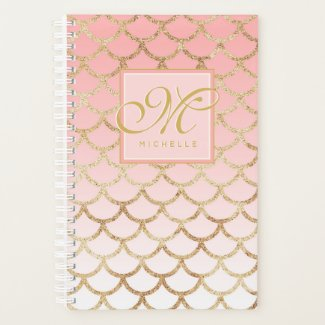 Pink Ombre Gold Mermaid & Script Monogram Planner