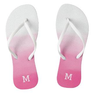 Pink Ombre Monogram flipflops Flip Flops