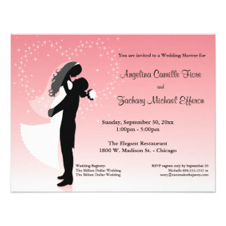 Pink Ombre Silhouette Formal Shower Invitation