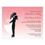 Pink Ombre Silhouette Formal Wedding Invite