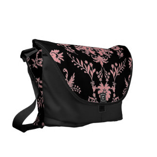 Pink on Black Damask Large Messenger Bag