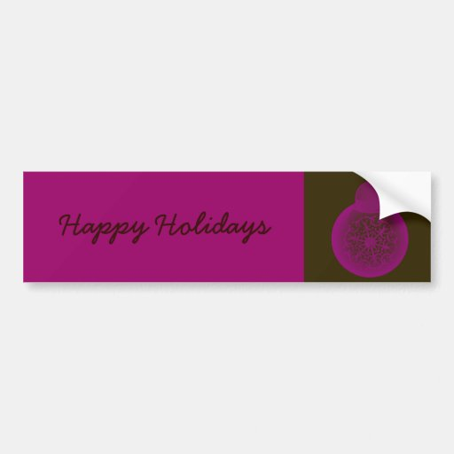 Pink on Brown Christmas Ornament Bumper Sticker