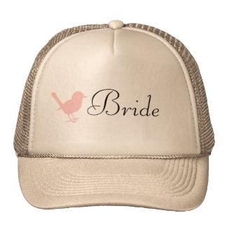 pink on cream bird cap