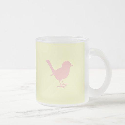 pink on cream bird coffee mugs