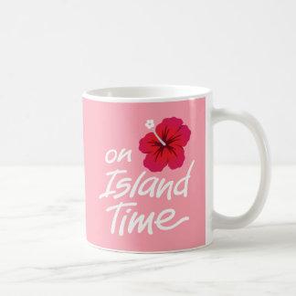 Pink On Island Time mug with Hibiscus