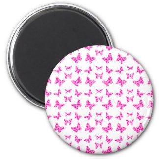 Pink On Pink Leopard Spot Butterfly Pattern Magnet
