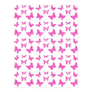 Pink On Pink Leopard Spot Butterfly Pattern Postcard