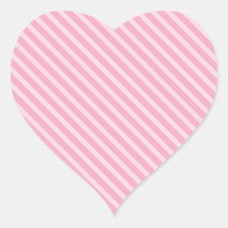 Pink on Pink Stripes Heart Sticker