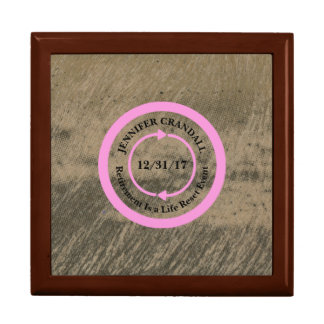 Pink on Taupe Retirement Keepsake Box