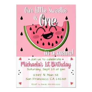 Pink One in a Melon Watermelon Girl's 1st Birthday Invitation