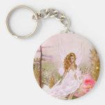 Pink Opal Basic Round Button Key Ring