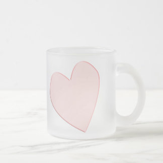 pink opaque heart frosted glass mug