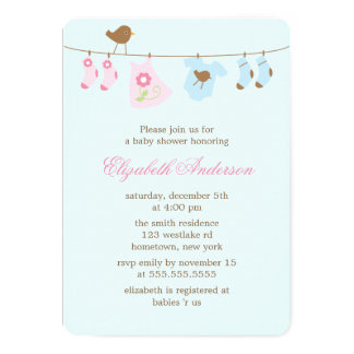 Pink or Blue? Clothesline Baby Shower 13 Cm X 18 Cm Invitation Card