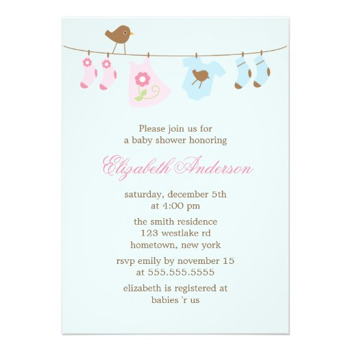Pink or Blue? Clothesline Baby Shower Custom Announcement