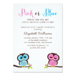 Pink or Blue? Owls Gender Reveal Party Personalized Invitations
