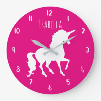 Pink or Custom Color Unicorn Personalized Kids Wallclock