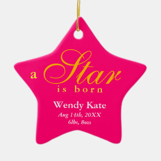 Pink orange a star is born baby name announcement christmas ornament