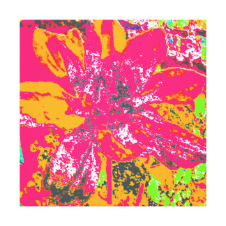 PINK/ORANGE ABSTRACT DAHLIA FLORAL FLOWER STRETCHED CANVAS PRINTS