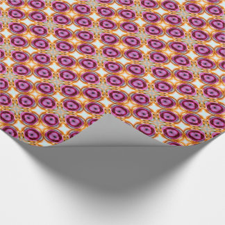Pink Orange Abstract Retro Wrapping Paper