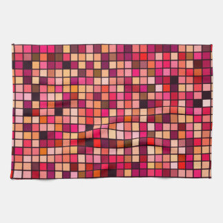 Pink, Orange And Earth Tones Squares Pattern Tea Towel