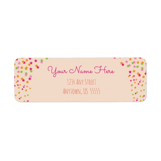 Pink, Orange and Green Stars on Chalkboard Return Address Label