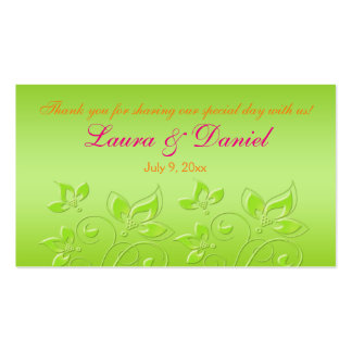 Pink, Orange, and Lime Green Floral Favor Tag Business Card Templates