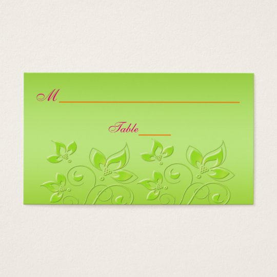 Pink, Orange, and Lime Green Floral Place Cards
