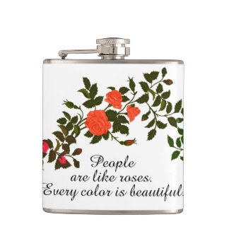 Pink, Orange and Yellow Rose Swag Hip Flask