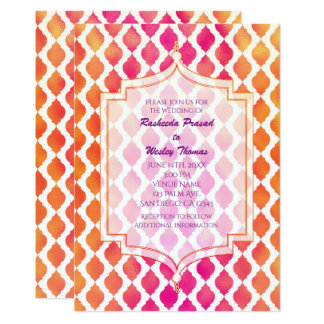 Pink & Orange Arabian Moroccan Wedding Invitations