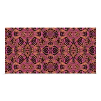 Pink, Orange, Black, Silky Art Deco Pattern Custom Photo Card