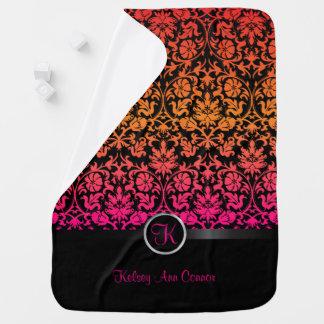 Pink & Orange Blend Damask Floral Design Pattern Buggy Blanket