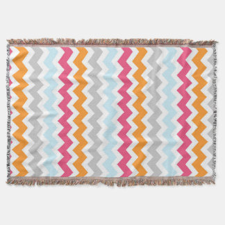 Pink Orange Blue Chevron Pattern Throw Blanket