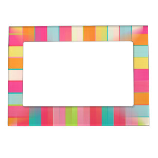 Pink Orange Blue Squares Magnetic Frame