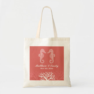 Pink Orange Coral Reef Seahorse Wedding Tote Bag