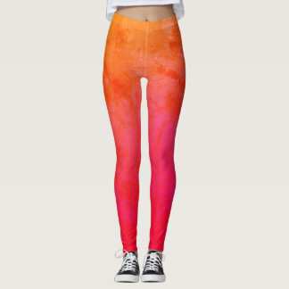 Pink, Orange Custom Leggings
