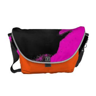 Pink Orange Emboss Latex Messenger Bag