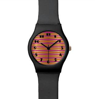 Pink, Orange & Faux Metallic Gold Stripes Wrist Watch